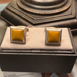 Yellow square cufflinks